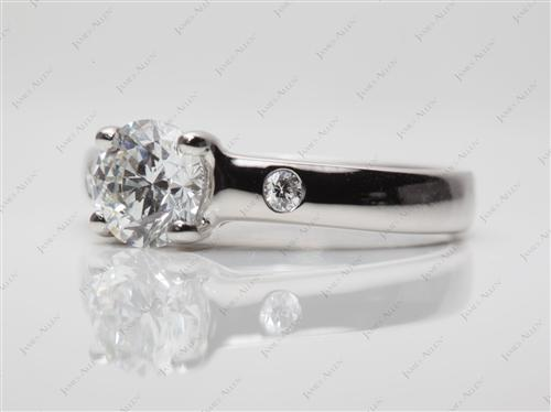 Platinum 0.91 Round cut Diamond Ring