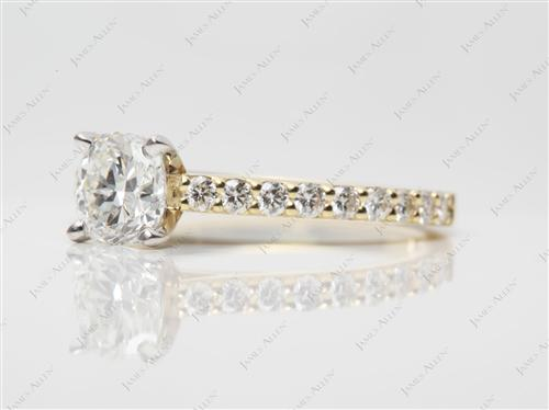Gold 1.01 Cushion cut Engagement Ring With Sidestones