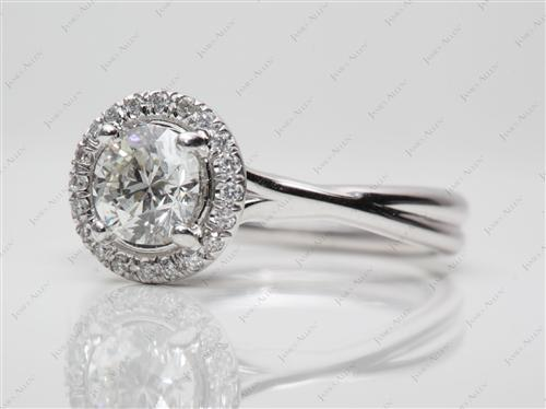 White Gold 0.90 Round cut Diamond Pave Ring