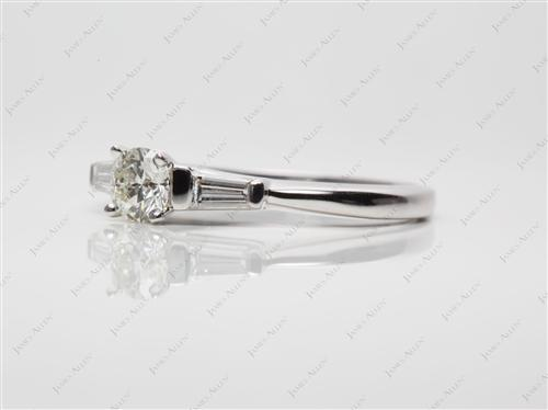 White Gold 0.45 Round cut Diamond Ring With Side Stones