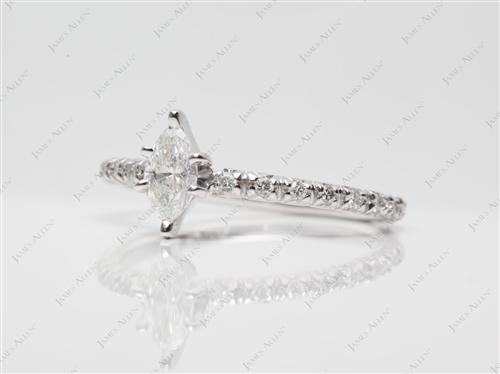 White Gold 0.30 Marquise cut Diamond Rings