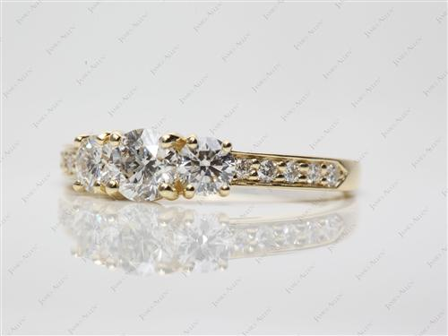 Gold  Three Stones Ring