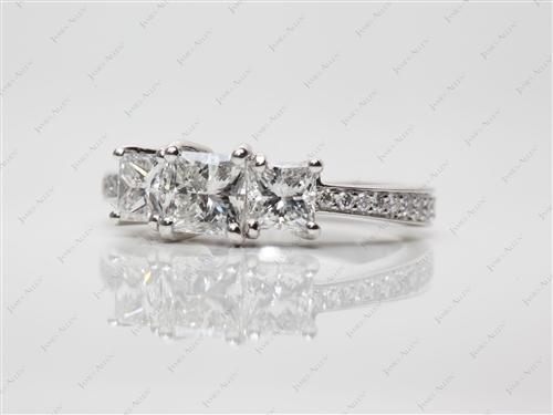 Platinum 0.64 Princess cut Three Stones