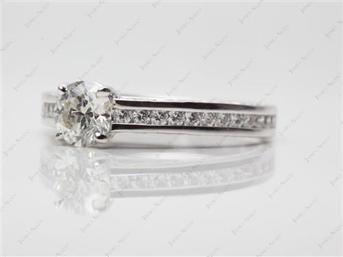White Gold 0.60 Round cut Channel Cut Ring