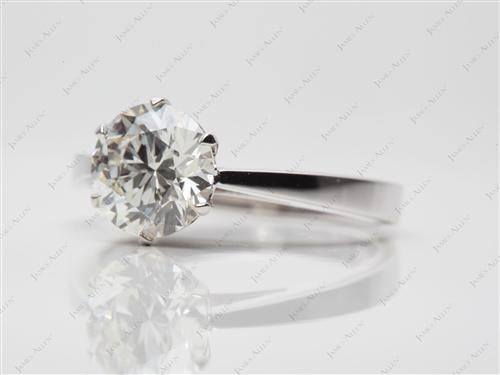 White Gold 1.64 Round cut Solitaire Ring Mountings