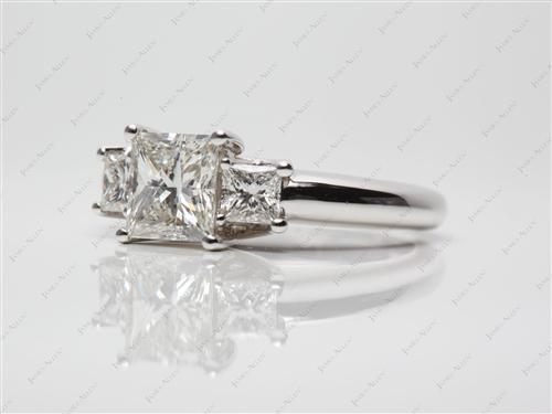 White Gold 1.38 Princess cut Three Stones Rings