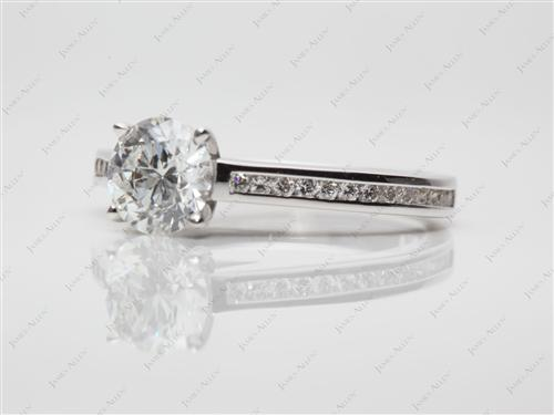 White Gold 1.02 Round cut Channel Setting Engagement Rings