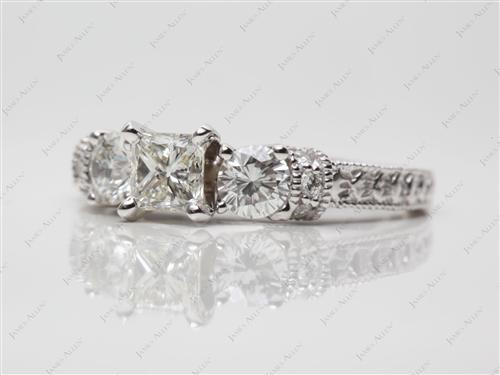 White Gold 0.51 Princess cut Engagement Ring