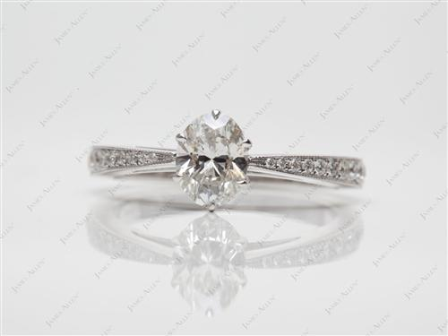 White Gold 0.72 Oval cut Micro Pave Rings