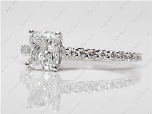 White Gold 1.01 Radiant cut Engagement Ring Side Stones