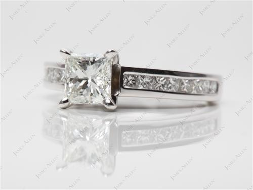 White Gold 0.93 Princess cut Channel Set Diamond Ring