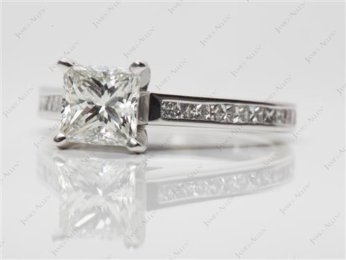 White Gold 1.27 Princess cut Channel Cut Ring