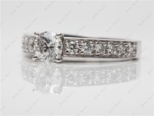 White Gold 0.51 Round cut Pave Rings
