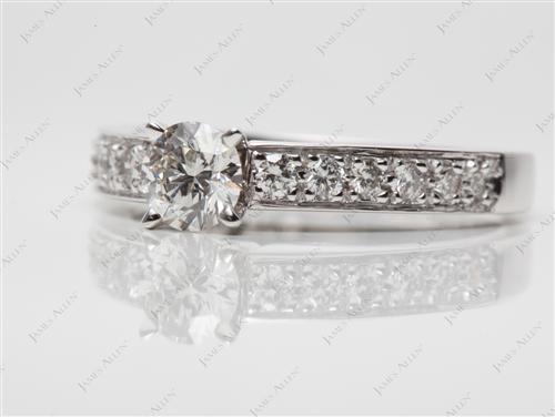 White Gold 0.56 Round cut Pave Ring