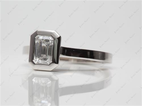 Platinum 0.84 Emerald cut Solitaire Engagement Ring