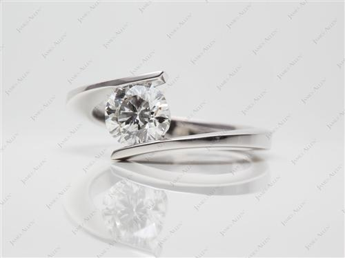 White Gold 1.01 Round cut Solitaire Engagement Ring