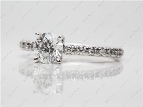 Platinum 0.80 Round cut Pave Setting Rings