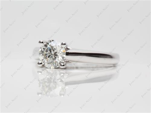 White Gold 0.79 Round cut Solitaire Ring