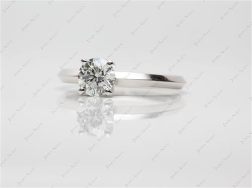 Platinum 0.61 Round cut Diamond Solitaire Engagement Ring