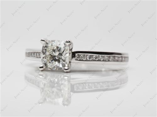 White Gold 1.03 Cushion cut Channel Set Eternity Rings