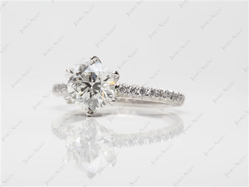 Platinum 1.31 Round cut Engagement Ring Micro Pave