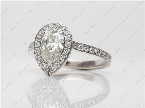 Platinum 1.02 Pear shaped Pave Diamond Rings