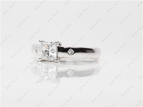Platinum 0.73 Princess cut Engagement Rings