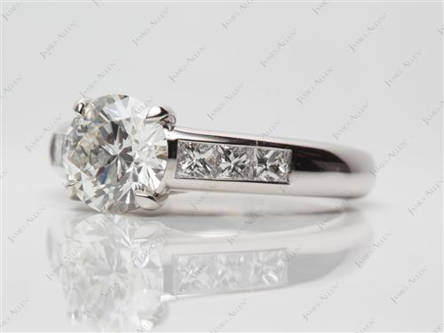 Platinum 1.37 Round cut Diamond Channel Ring