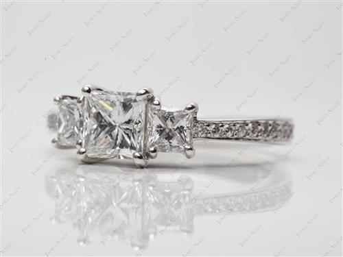 Platinum 1.06 Princess cut Three Stones Diamonds Rings