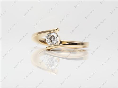 Gold 0.45 Round cut Engagement Rings