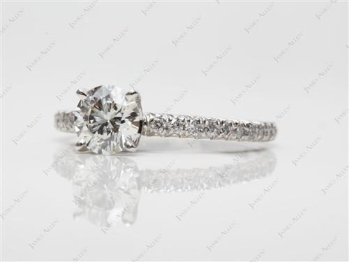Platinum 0.72 Round cut Pave Diamond Engagement Ring