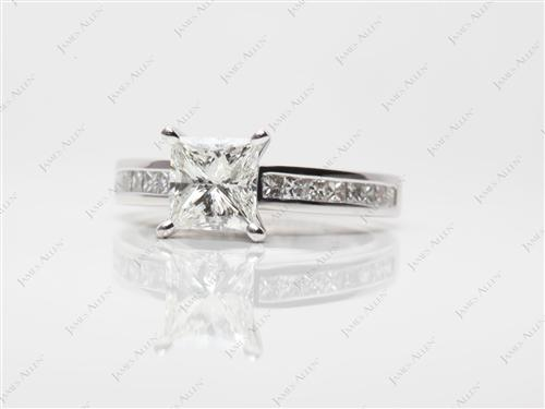 White Gold 1.51 Princess cut Diamond Channel Rings