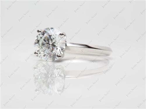Platinum 1.66 Round cut Diamond Solitaire Engagement Ring