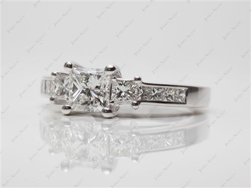 White Gold 0.82 Princess cut Three Stones Ring