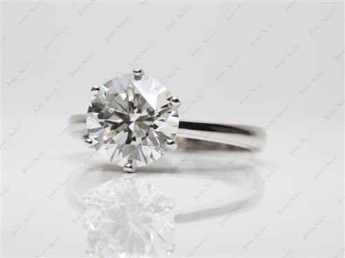 Platinum 3.01 Round cut Engagement Rings
