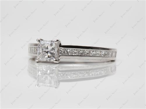 Platinum 0.71 Princess cut Channel Set Engagement Rings