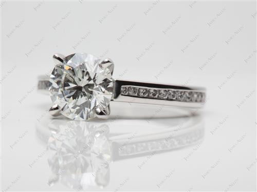 Platinum 1.77 Round cut Channel Set Diamond Ring