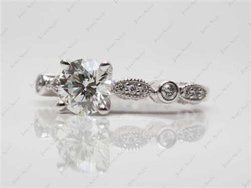 White Gold 0.87 Round cut Diamond Ring With Sidestones