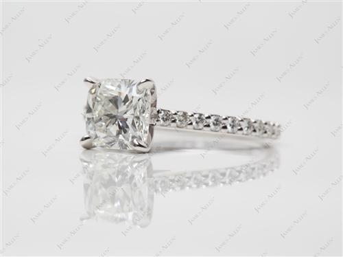 White Gold 1.78 Cushion cut Diamond Rings With Side Stones