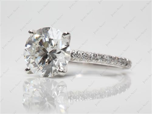 Platinum 2.59 Round cut Engagement Rings
