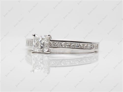 White Gold 0.81 Princess cut Channel Set Diamond Ring