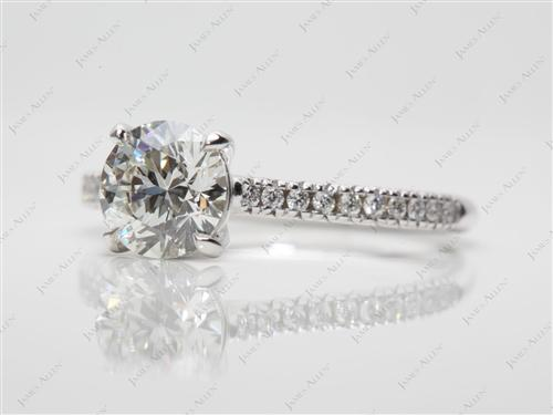 White Gold 1.21 Round cut Diamond Pave Rings