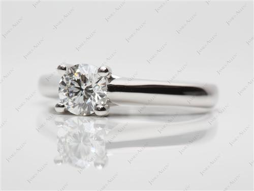 Platinum 0.72 Round cut Diamond Solitaire Ring Settings