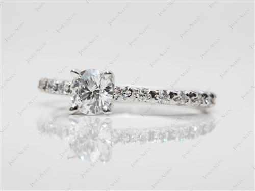 White Gold 0.45 Round cut Pave Ring Set