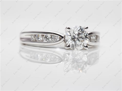 White Gold 0.83 Round cut Channel Set Engagement Ring