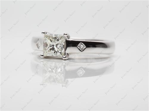 White Gold 0.60 Princess cut Diamond Ring