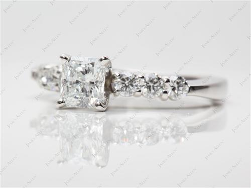 Platinum 0.74 Radiant cut Engagement Ring Side Stones