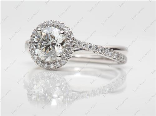 Platinum 0.91 Round cut Pave Ring
