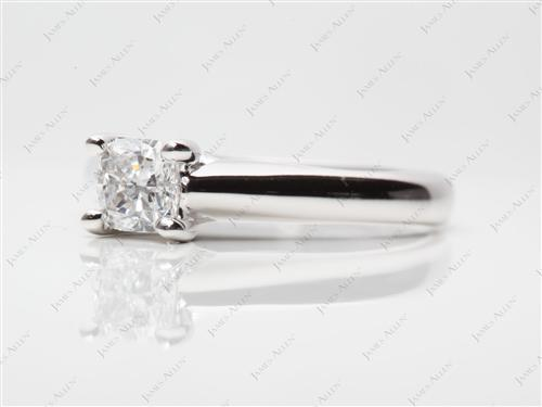 White Gold 0.58 Cushion cut Solitaire Engagement Rings
