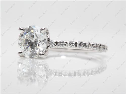 White Gold 1.70 Round cut Pave Diamond Engagement Ring